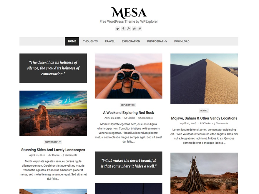 Mesa WordPress ecommerce template
