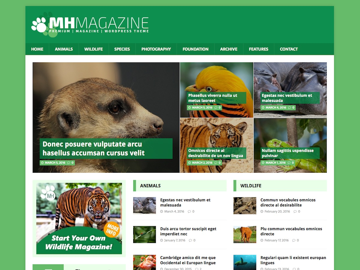 MH Biosphere WordPress template free download