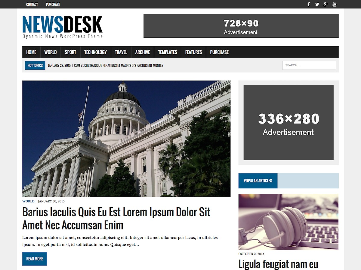 MH Newsdesk WordPress magazine theme