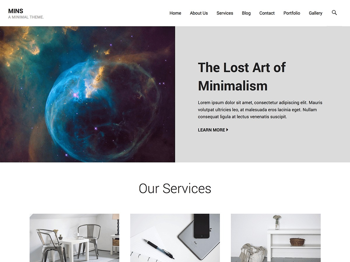 Mins WordPress website template