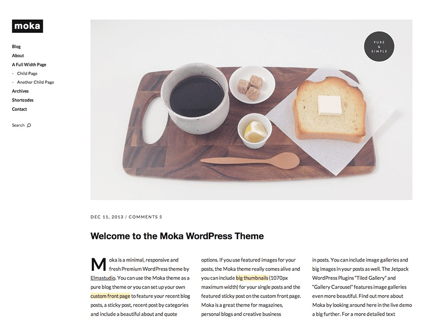 Moka WordPress blog theme