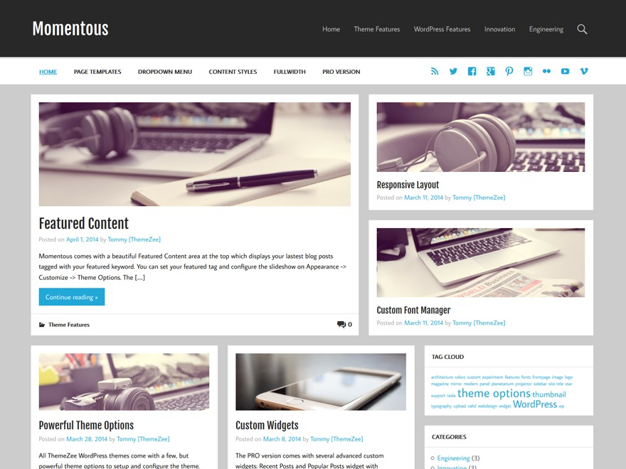 Momentous Lite free WordPress theme