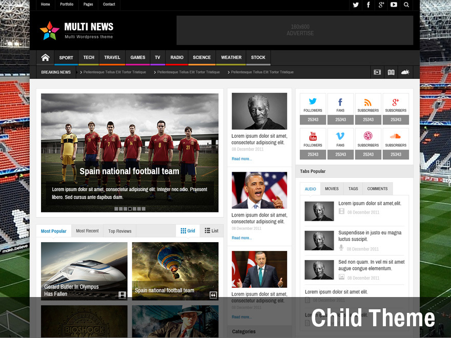 Multinews Child WordPress news theme