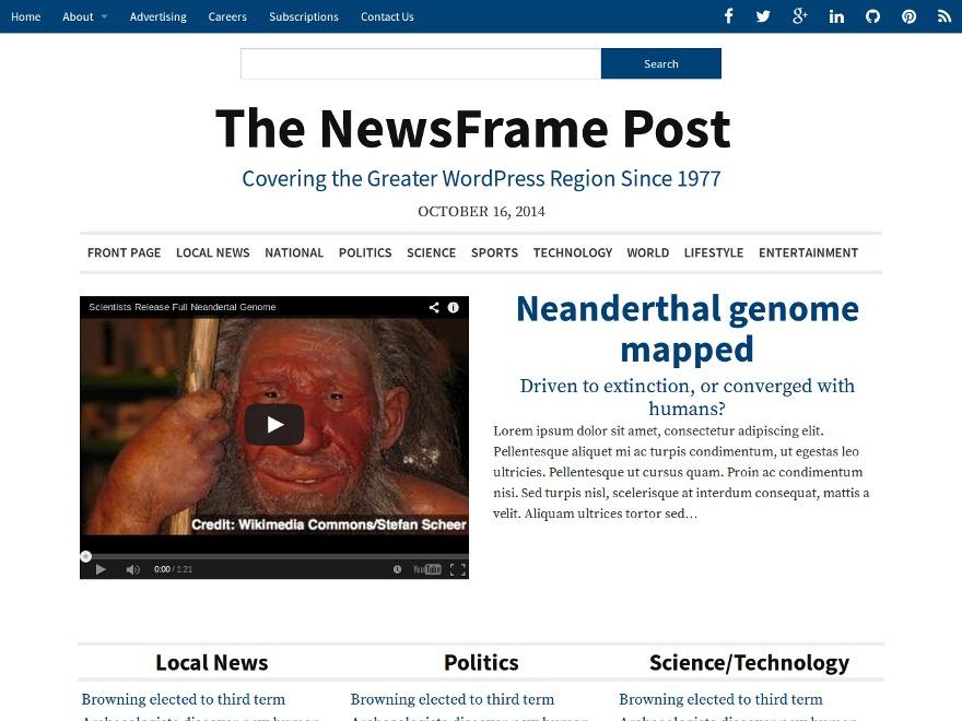NewsFrame WordPress magazine theme