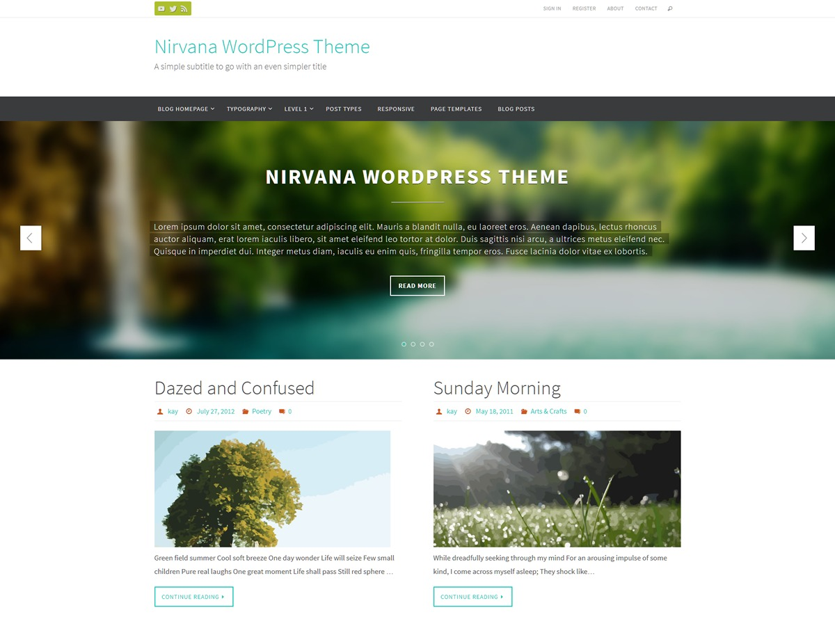 Nirvana WordPress magazine theme