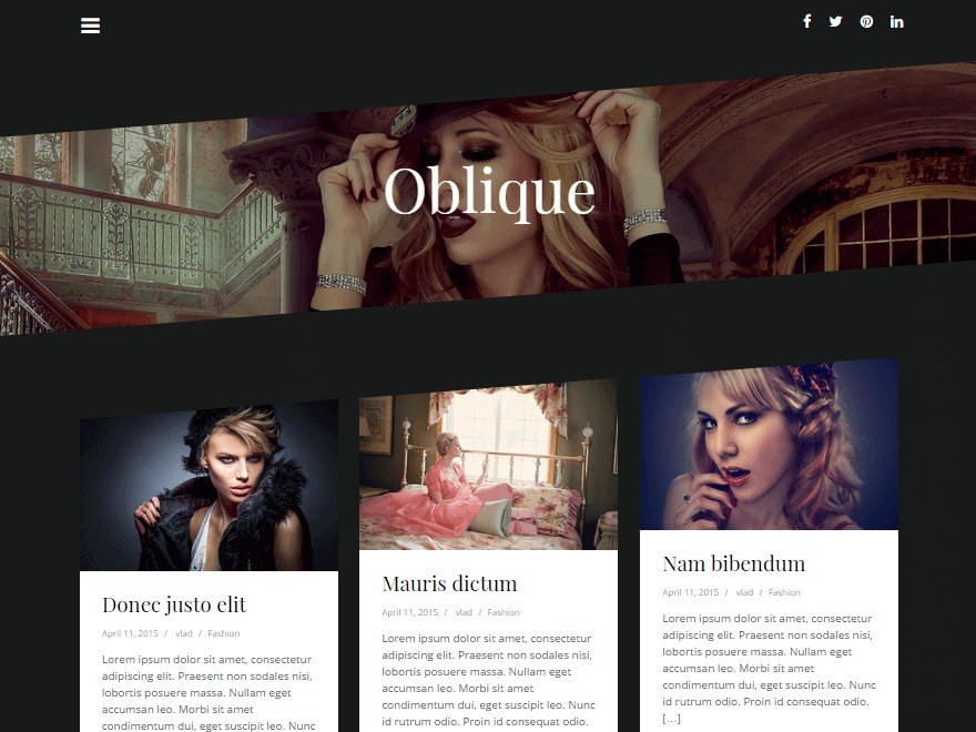 Oblique fashion WordPress theme