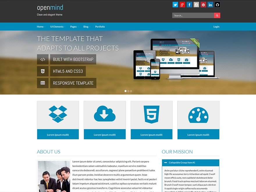 Open Mind WordPress theme design