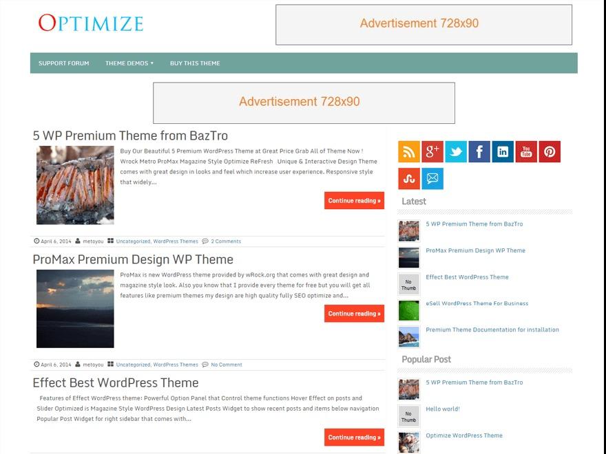 Optimize best free WordPress theme