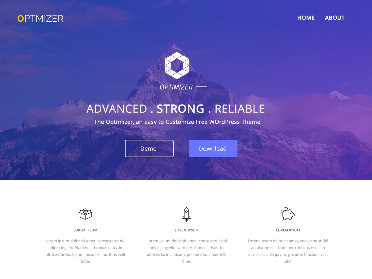 Optimizer template WordPress free
