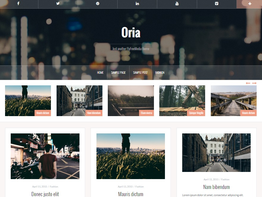 Oria free WordPress theme