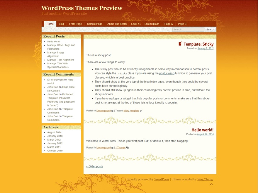 oriental WordPress theme