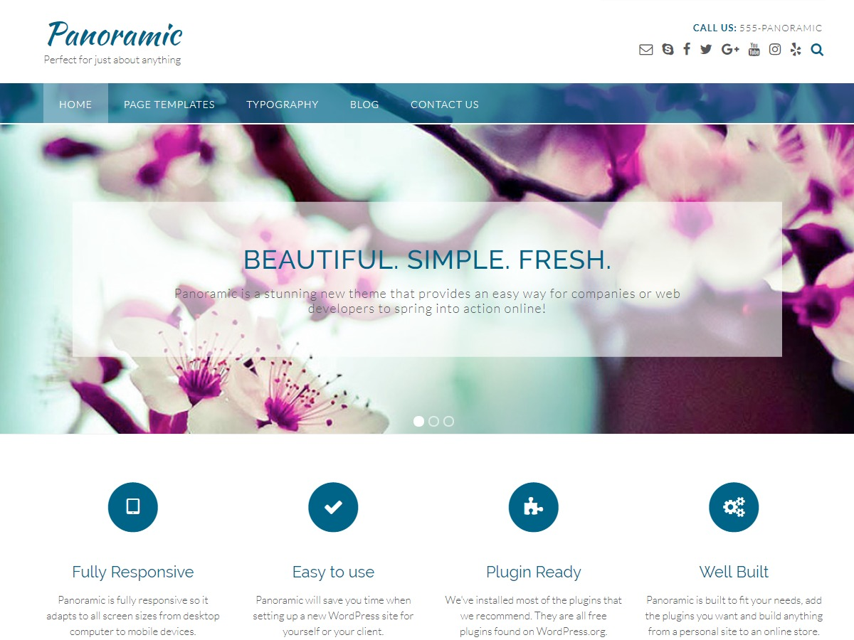 Panoramic WordPress template for business