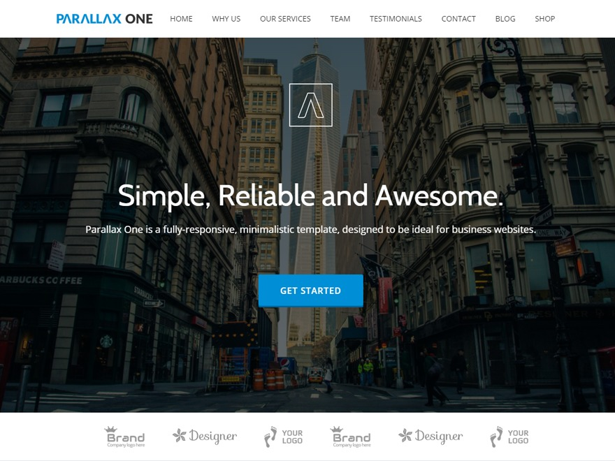 Parallax One company WordPress theme