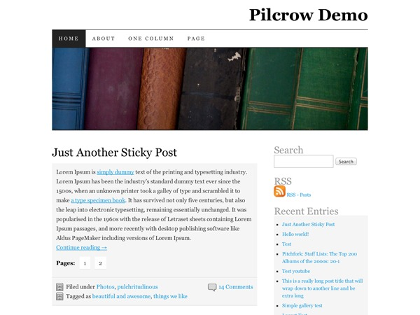 Pilcrow WordPress template for photographers