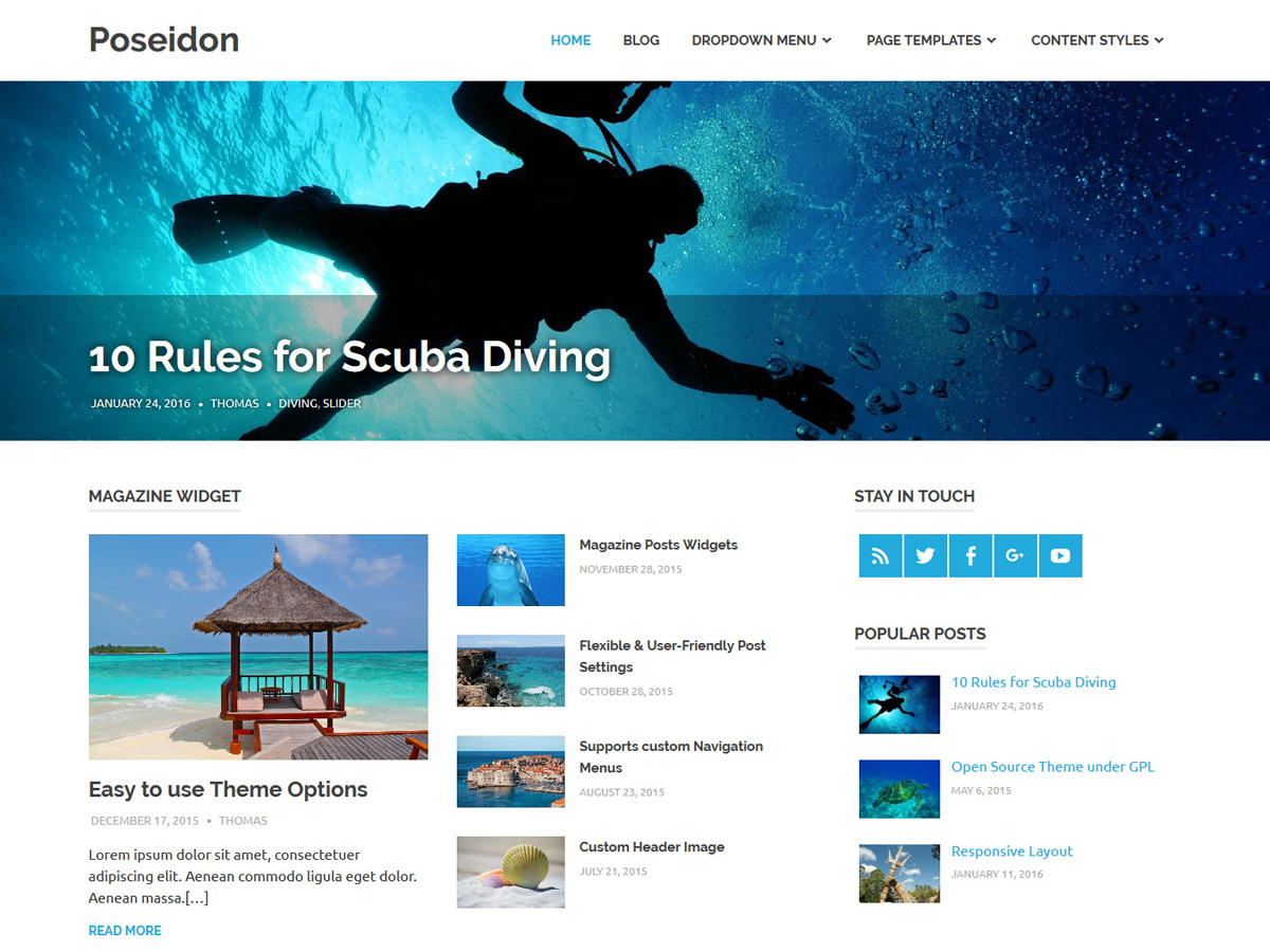 Poseidon WordPress blog template