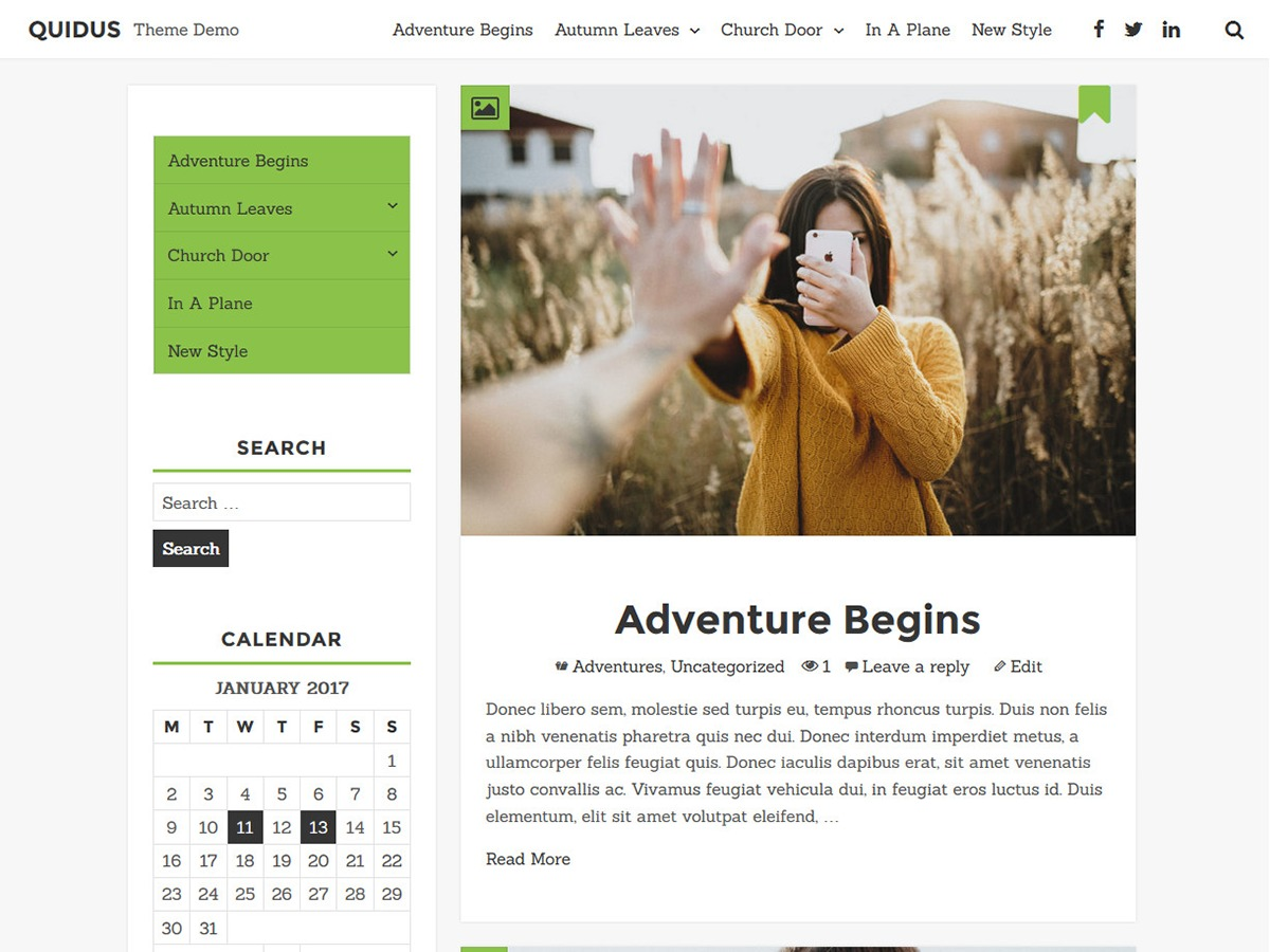 Quidus WordPress blog theme