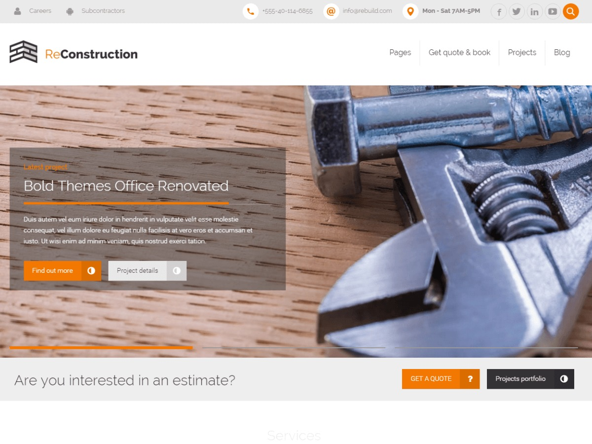 ReConstruction WordPress template for business
