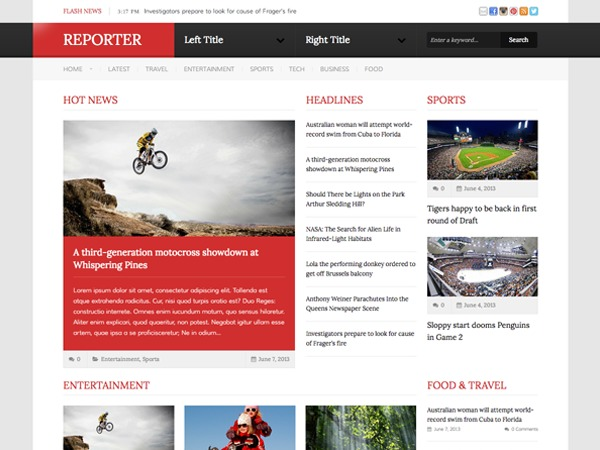 Reporter WordPress news theme