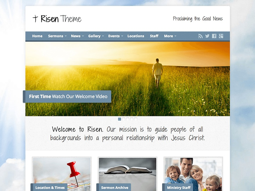 Risen WordPress theme design