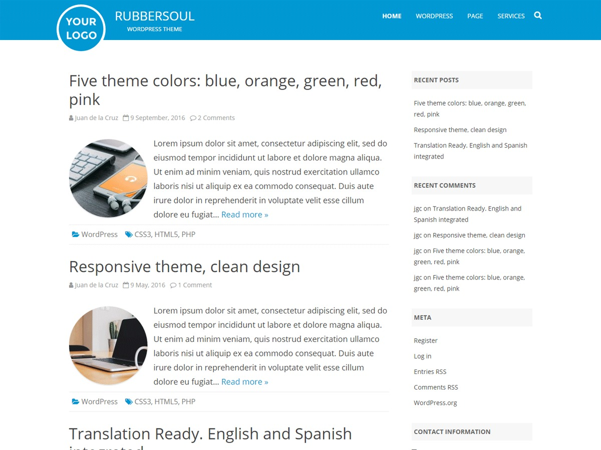 RubberSoul free WordPress theme