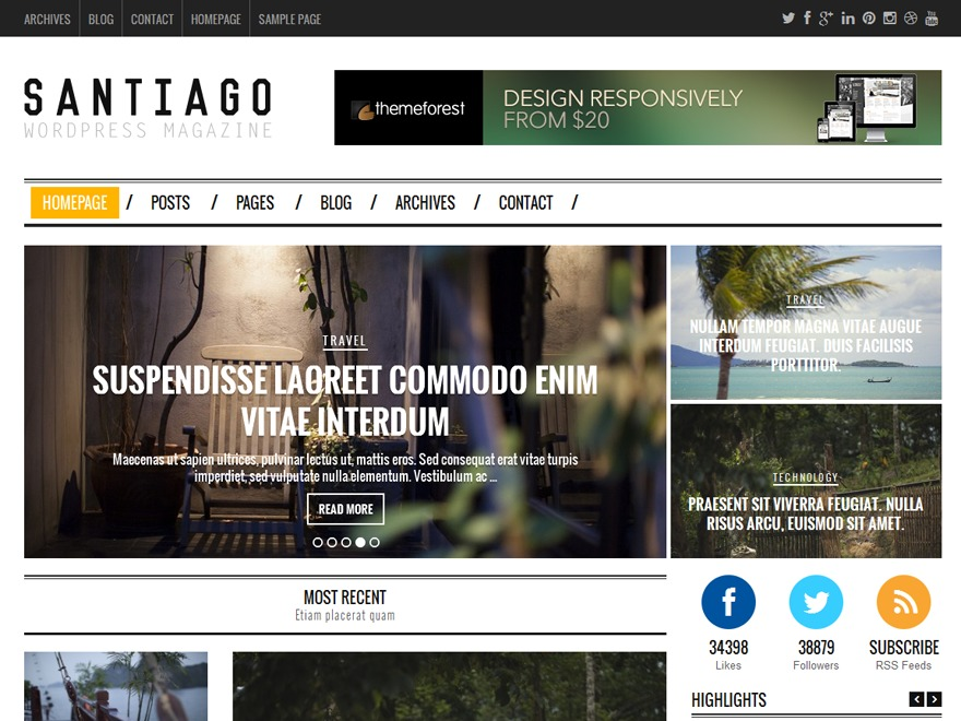 Santiago WordPress blog template