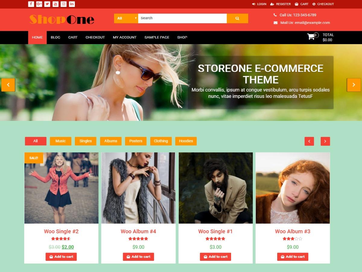 ShopOne template WordPress free