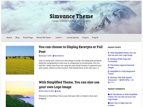 Simvance template WordPress