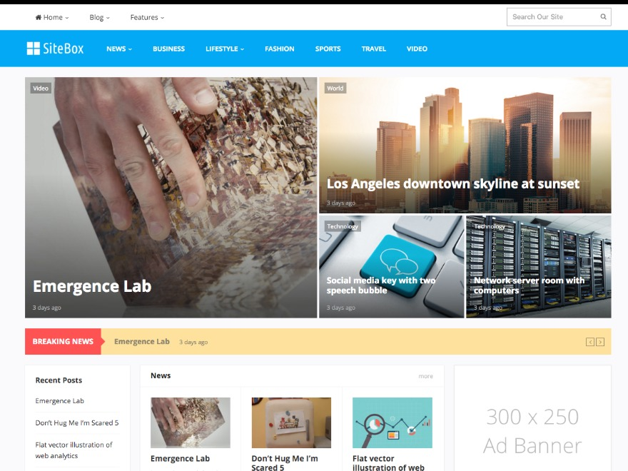 SiteBox WordPress news template