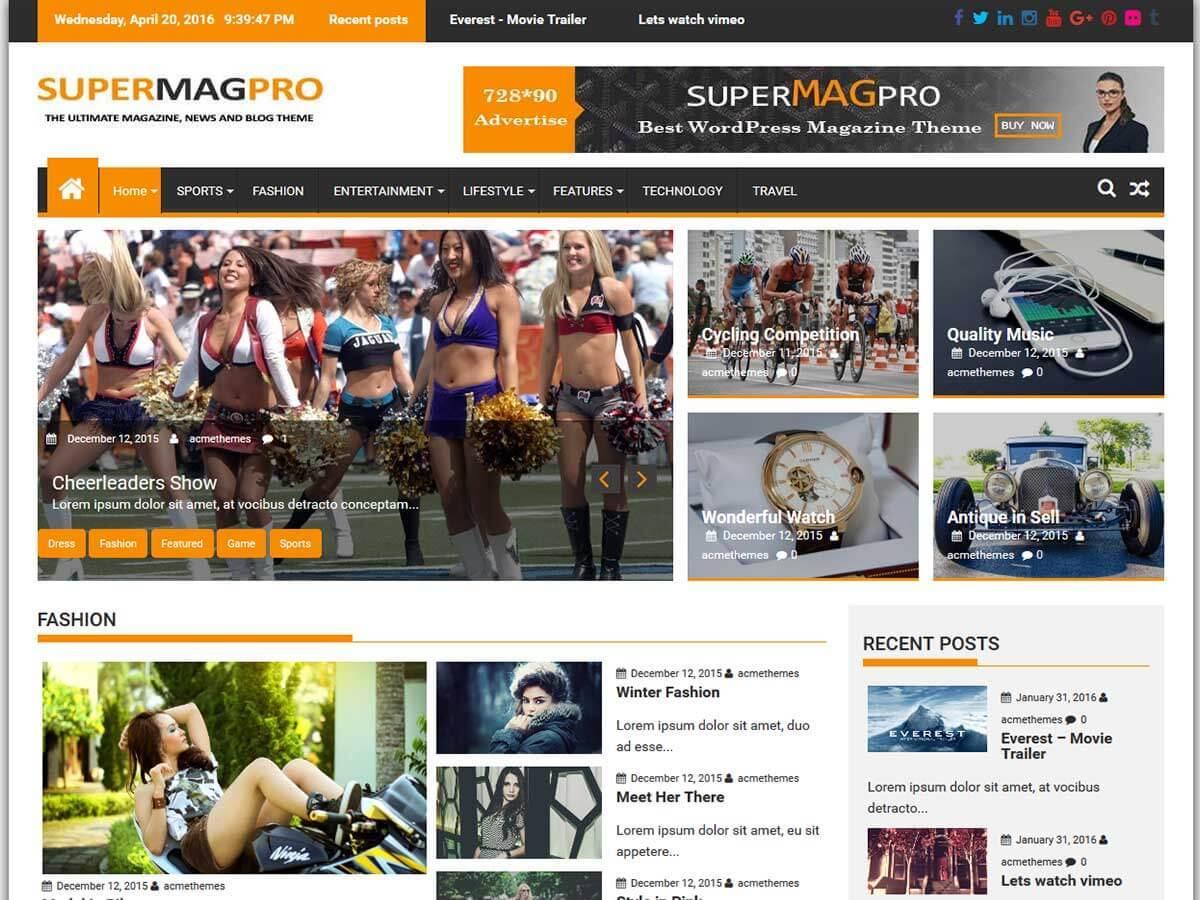 SuperMagPro WordPress news theme