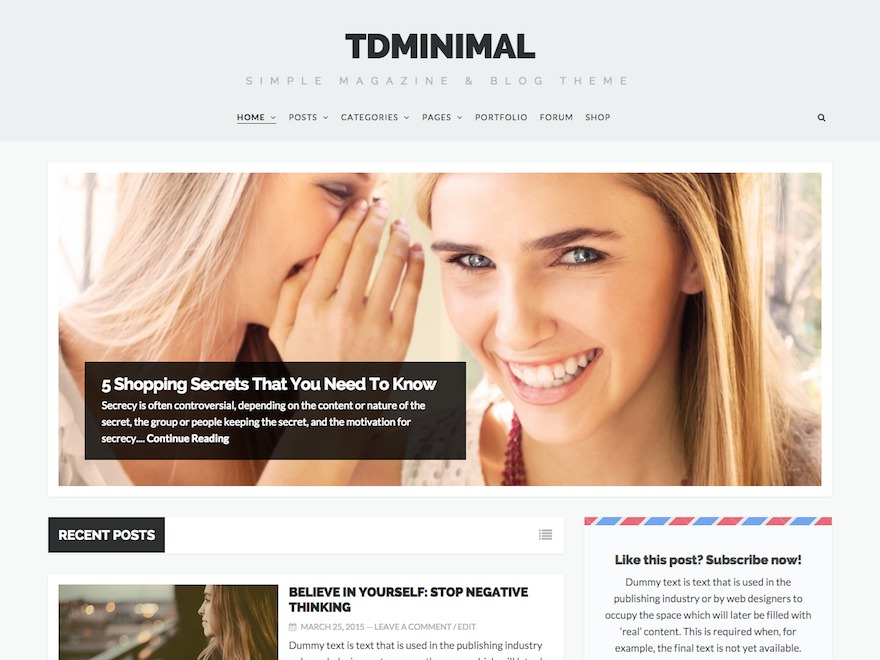 tdMinimal WordPress magazine theme