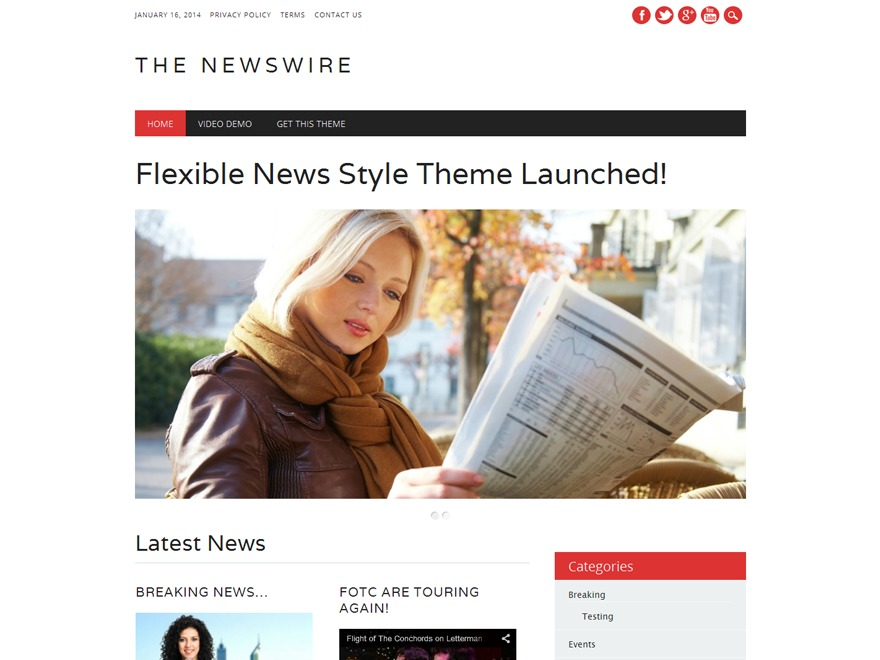 The Newswire template WordPress free