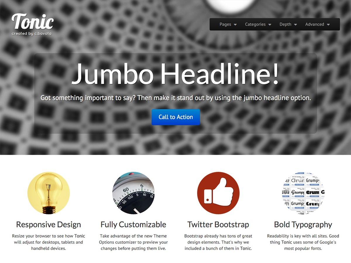 Tonic WordPress template for photographers