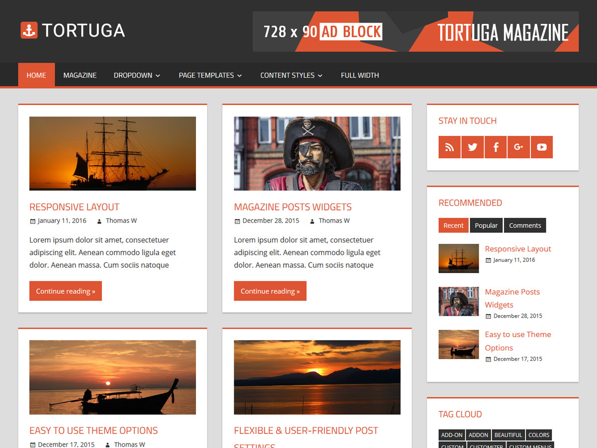 Tortuga free WordPress theme