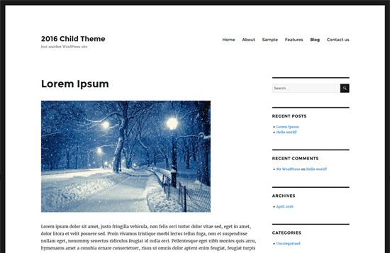 Twenty Sixteen Child WordPress blog template