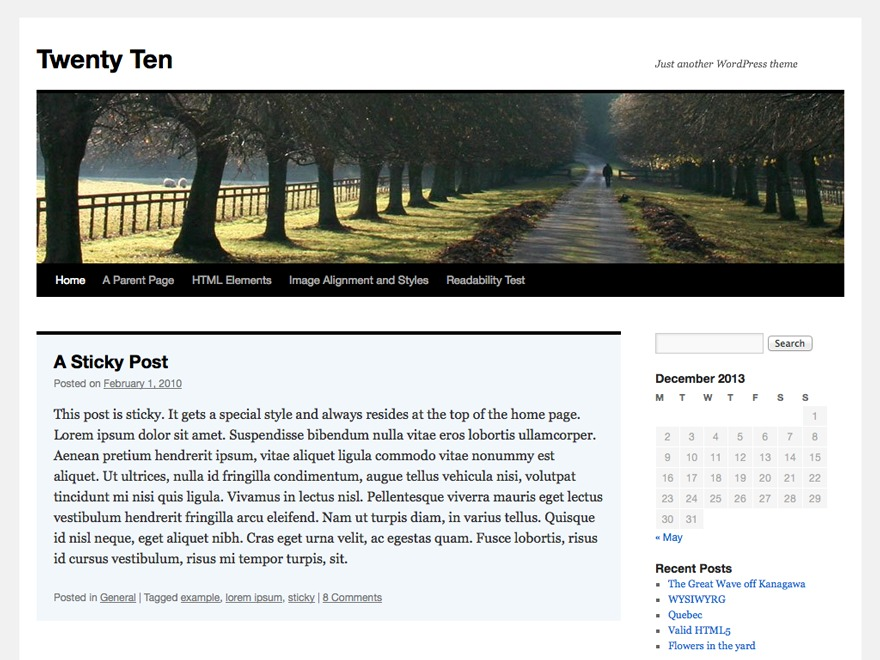 Twenty Ten WordPress theme download