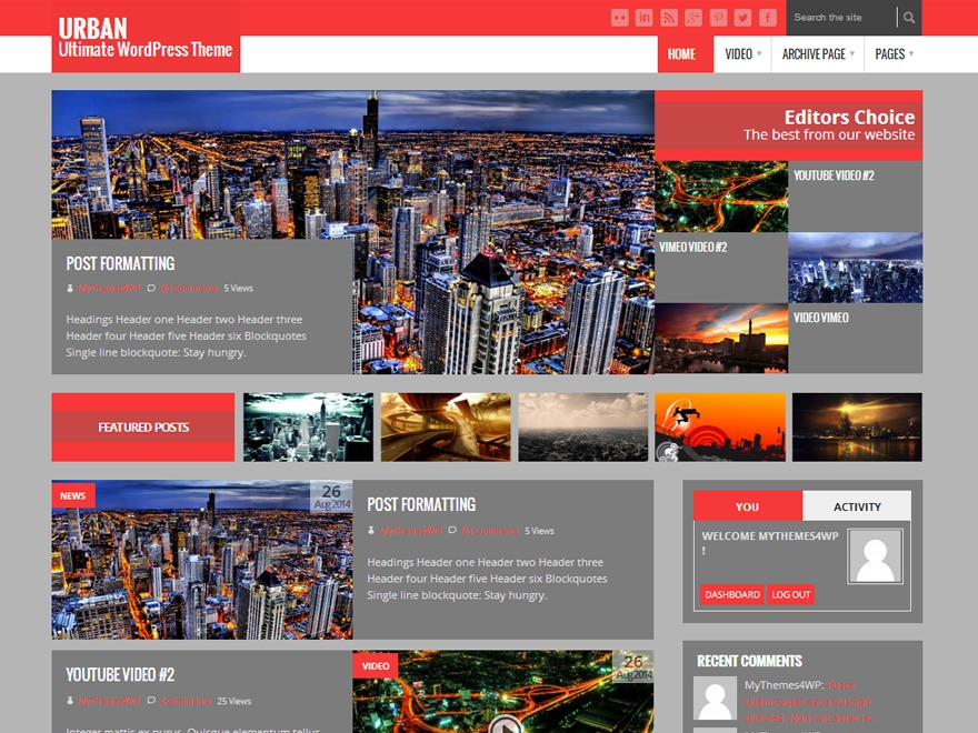 Urban Lite WordPress blog template