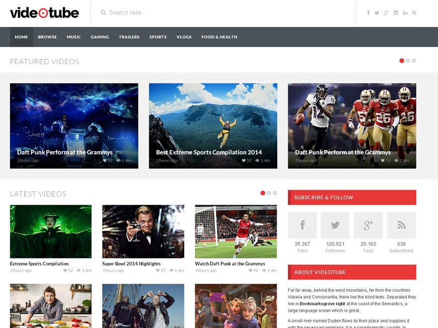 VideoTube WordPress movie theme