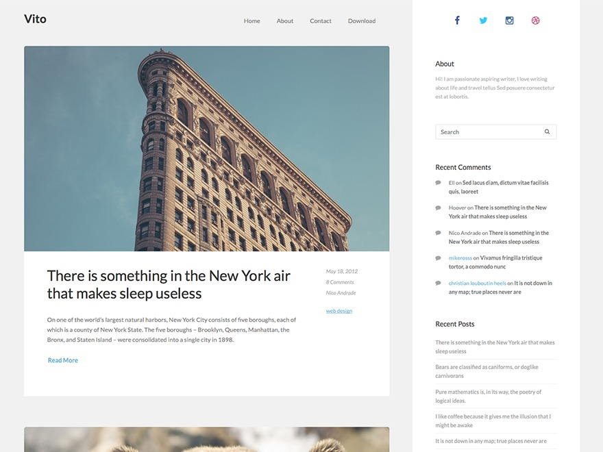 Vito WordPress blog template