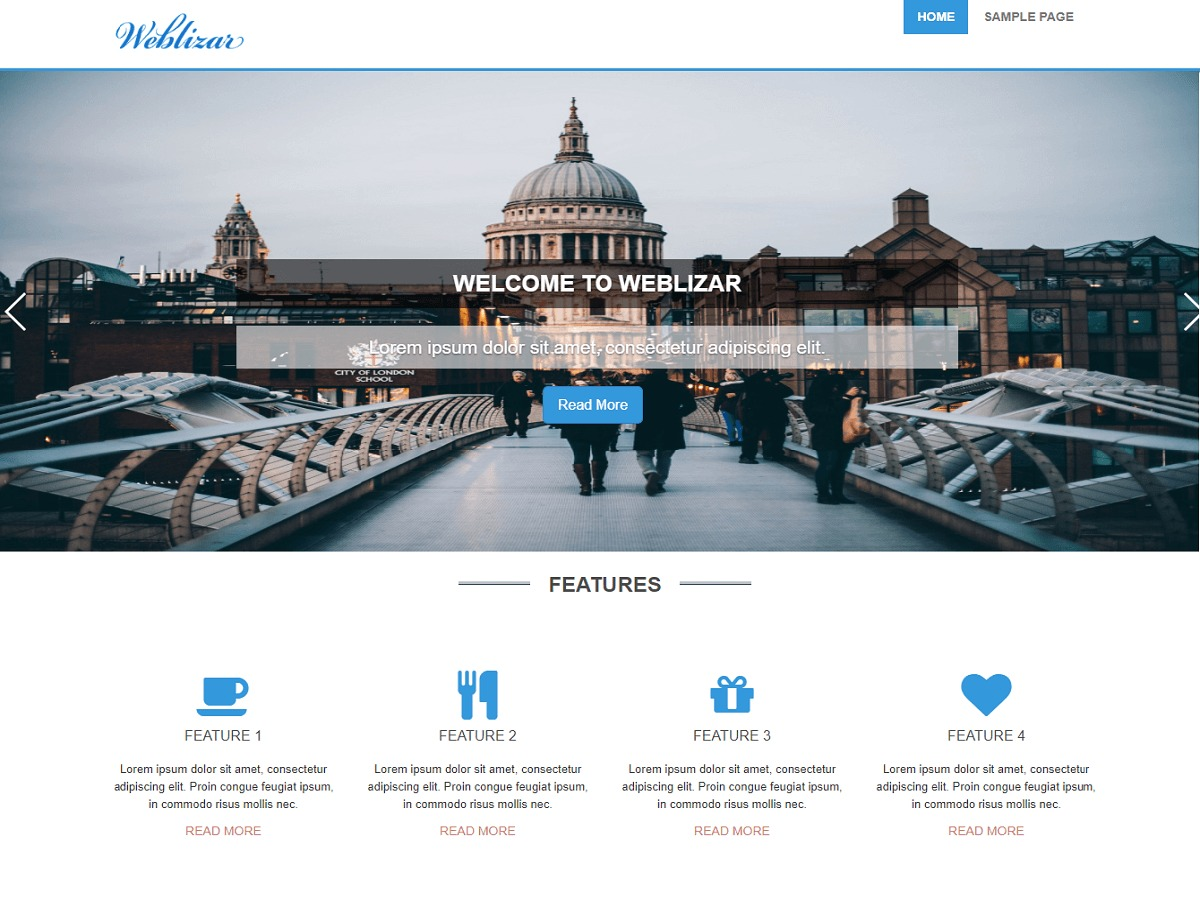 Weblizar template WordPress free