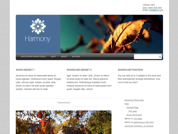 WordPress theme Harmony 2.0