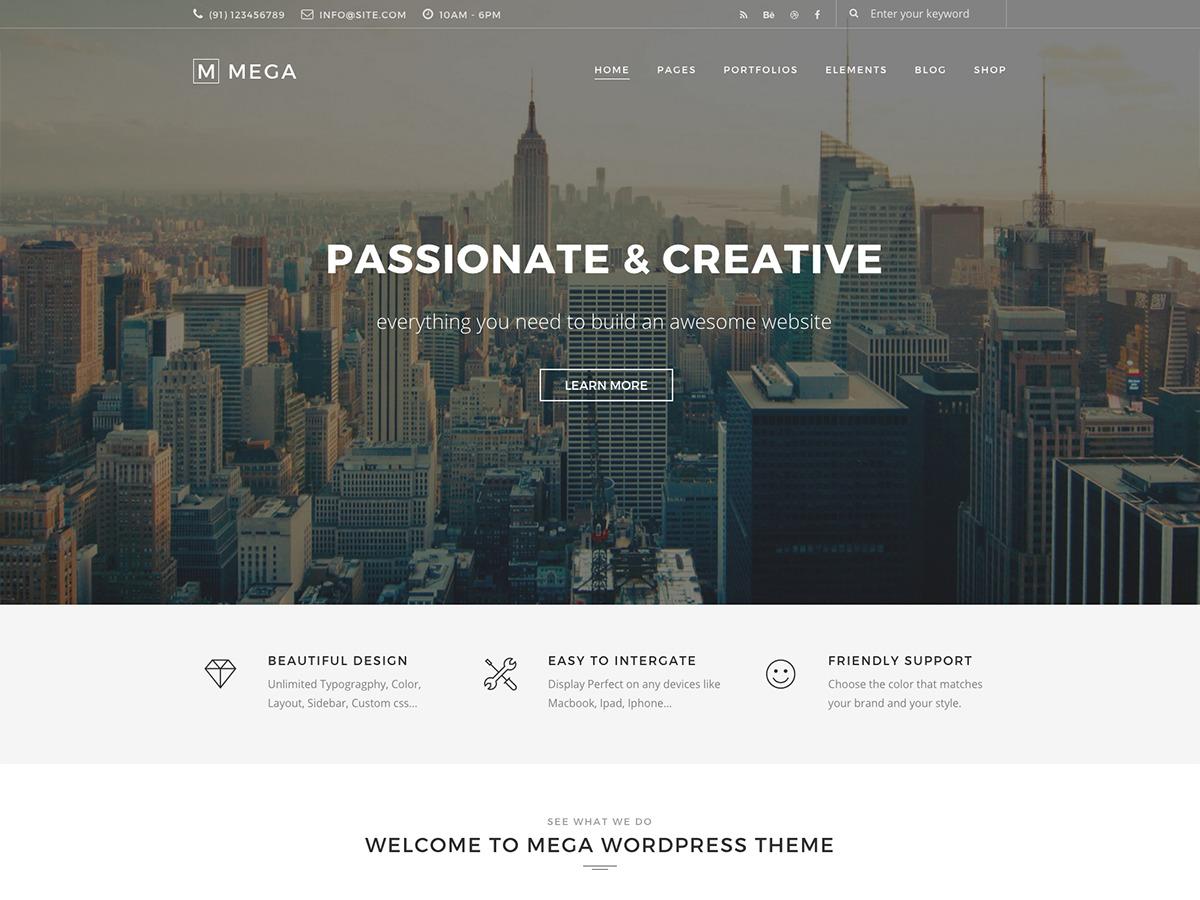 WordPress theme Mega