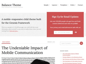 WordPress website template Balance Child Theme