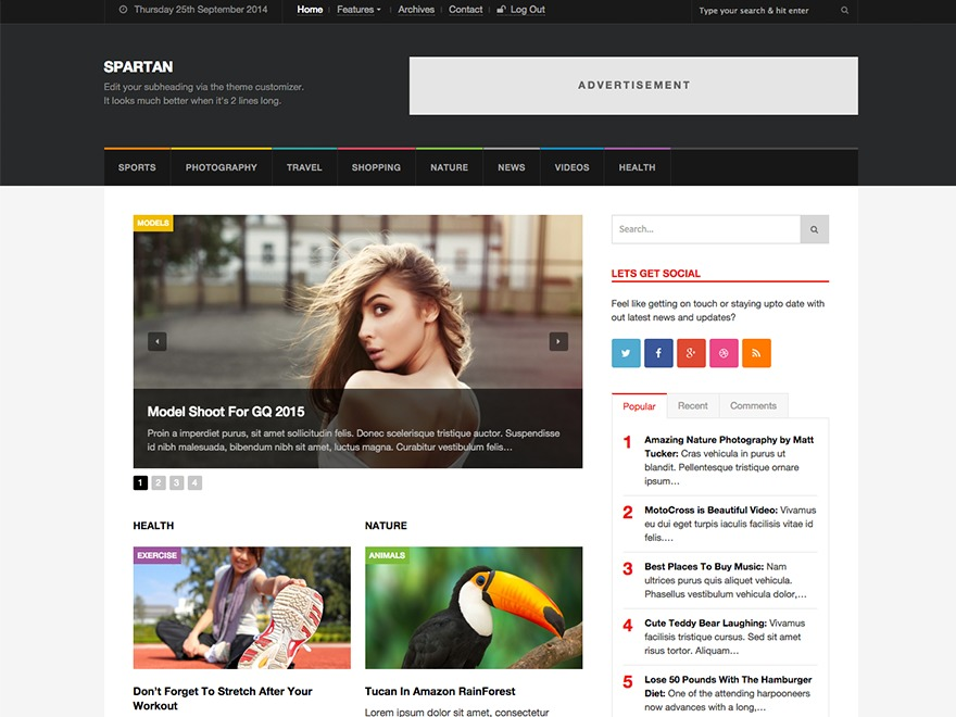 WordPress website template Spartan