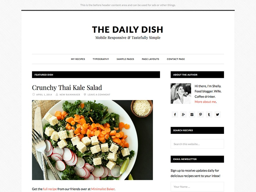 WP template Daily Dish Pro Theme