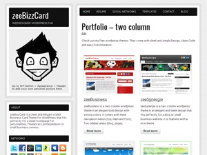 zeeBizzCard theme WordPress portfolio