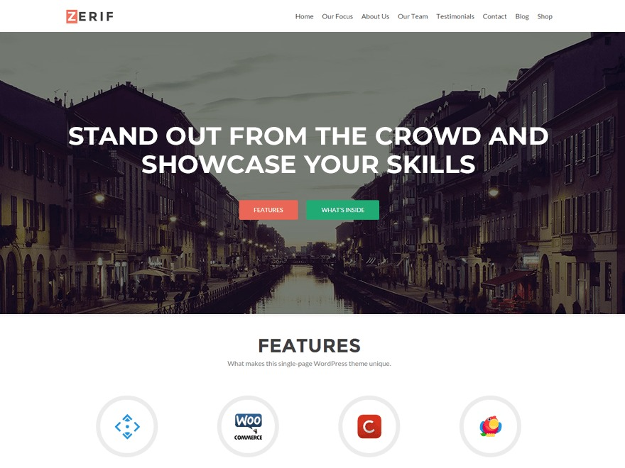 Zerif Lite WordPress store theme