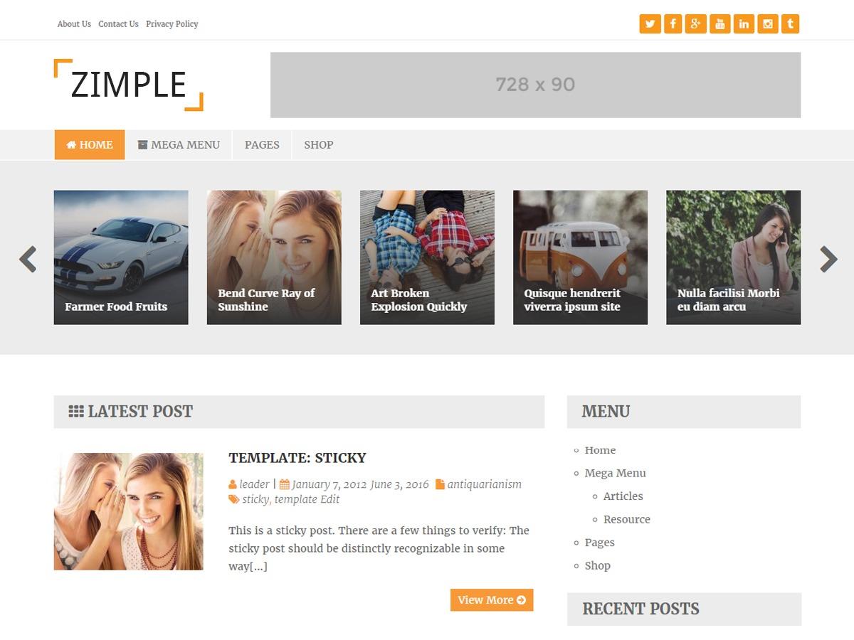 Zimple Lite best free WordPress theme