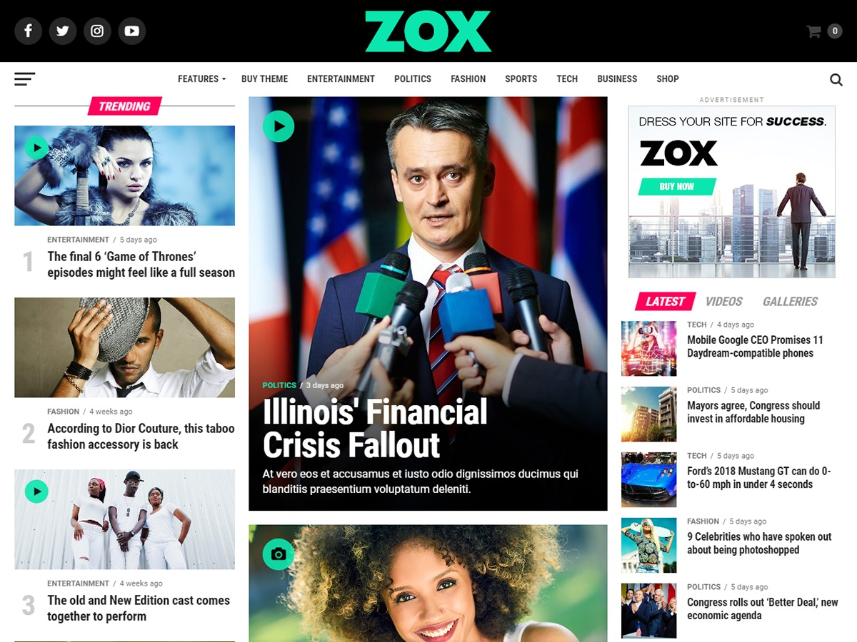 Zox News WordPress magazine theme