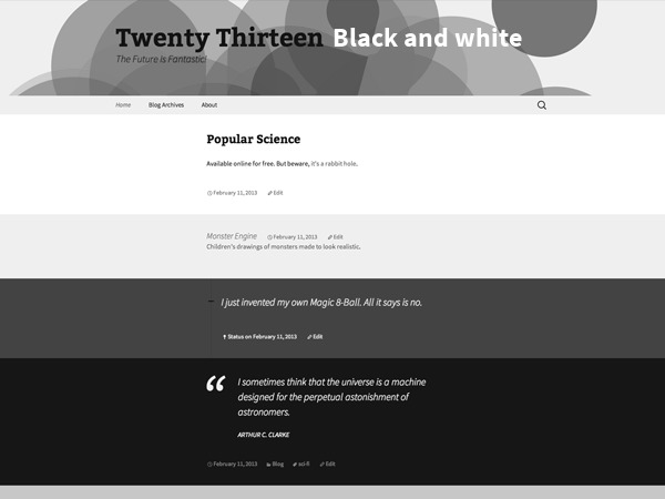 2013 Black and white WP theme