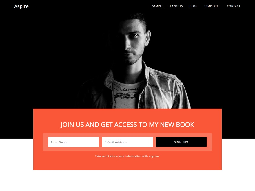 Aspire Pro WordPress page template